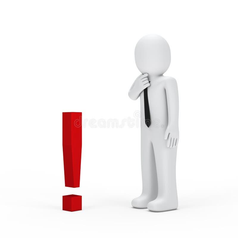Μικρό κόκκινο σημάδι θαυμαστικών επιχειρηματιών απεικόνιση αποθεμάτων