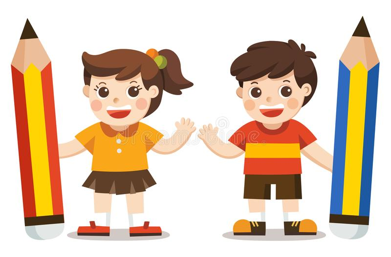 Μικρό παιδί και κορίτσι που κρατούν το μεγάλο μολύβι διανυσματική απεικόνιση