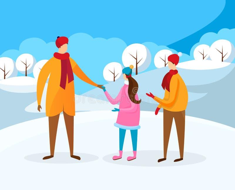 Μικρό παιδί και κορίτσι που περπατούν με τον πατέρα στο χειμώνα ελεύθερη απεικόνιση δικαιώματος