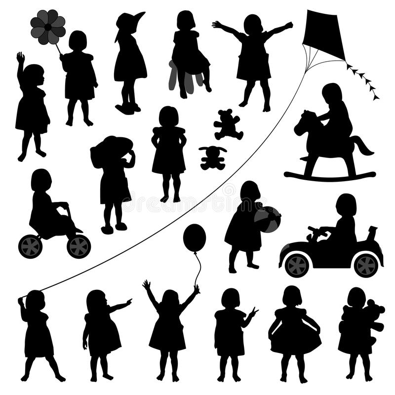 μικρό παιδί κοριτσιών παιδ&iota διανυσματική απεικόνιση