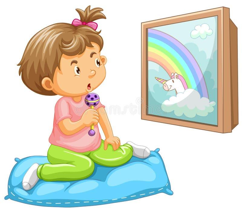 Μικρό παιδί κοριτσιών που εξετάζει το μονόκερο απεικόνιση αποθεμάτων
