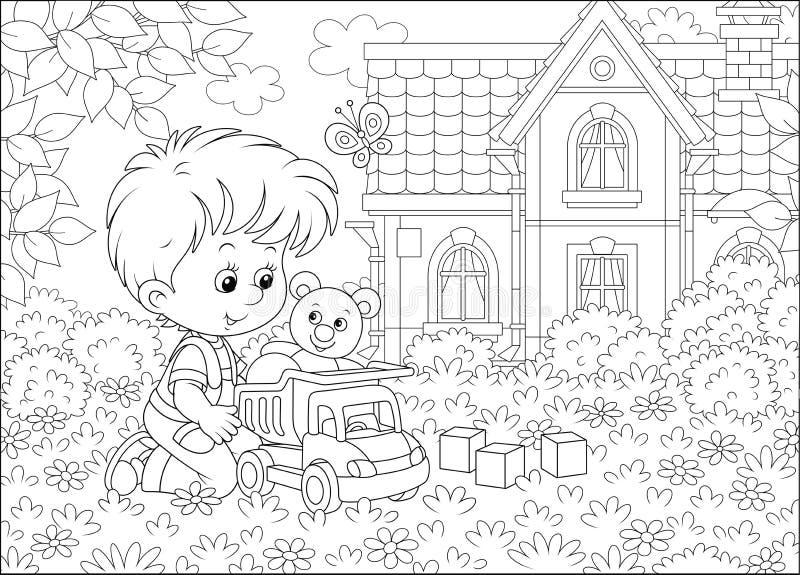 Μικρό παιδί με ένα φορτηγό παιχνιδιών σε έναν χορτοτάπητα διανυσματική απεικόνιση