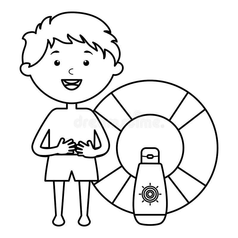 Μικρό παιδί με ηλιακά blocker και το επιπλέον σώμα διανυσματική απεικόνιση