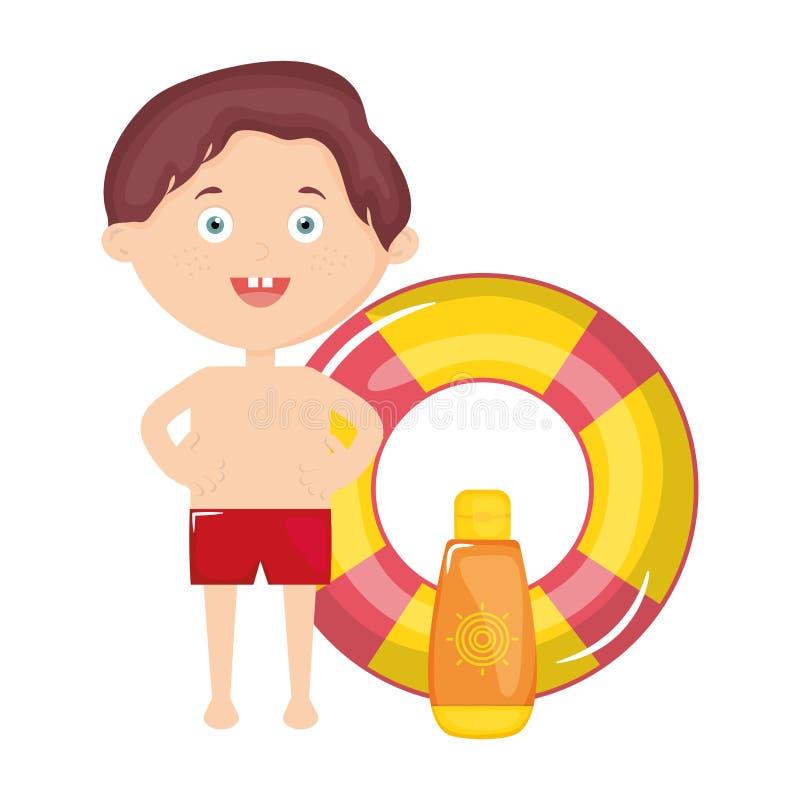 Μικρό παιδί με ηλιακά blocker και το επιπλέον σώμα ελεύθερη απεικόνιση δικαιώματος