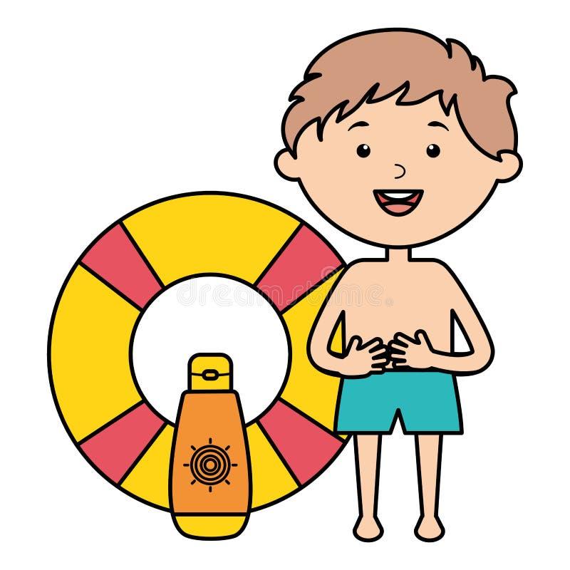 Μικρό παιδί με ηλιακά blocker και το επιπλέον σώμα απεικόνιση αποθεμάτων