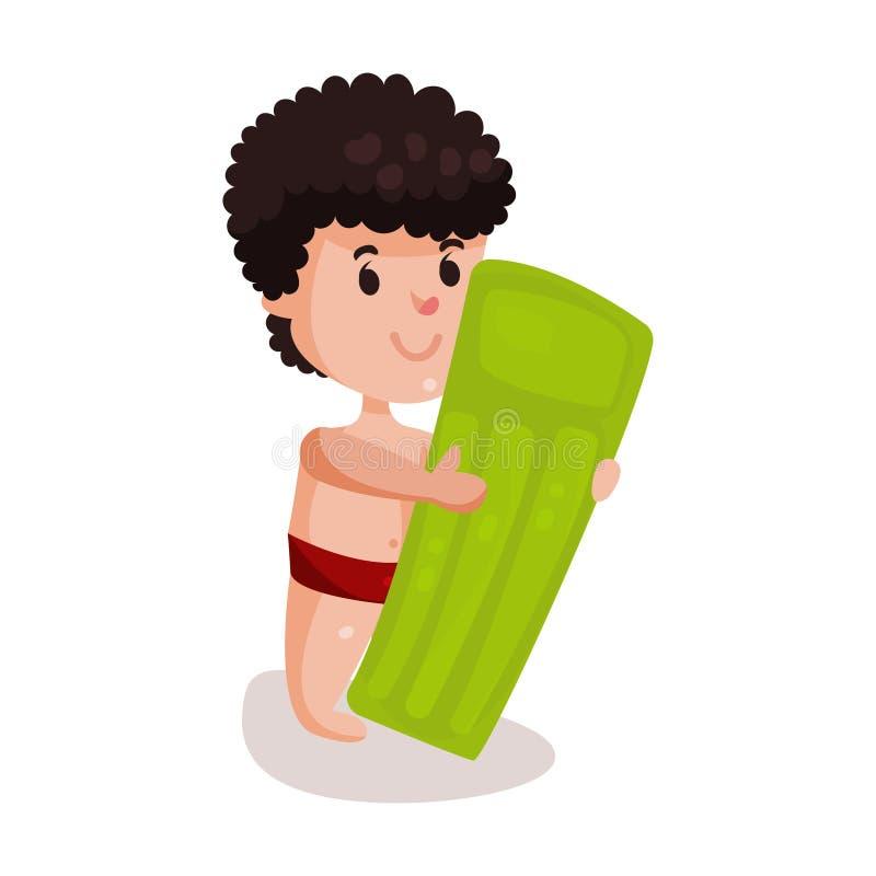 Μικρό παιδί με το πράσινο διογκώσιμο στρώμα, παιδί έτοιμο να κολυμπήσει τη ζωηρόχρωμη απεικόνιση χαρακτήρα απεικόνιση αποθεμάτων