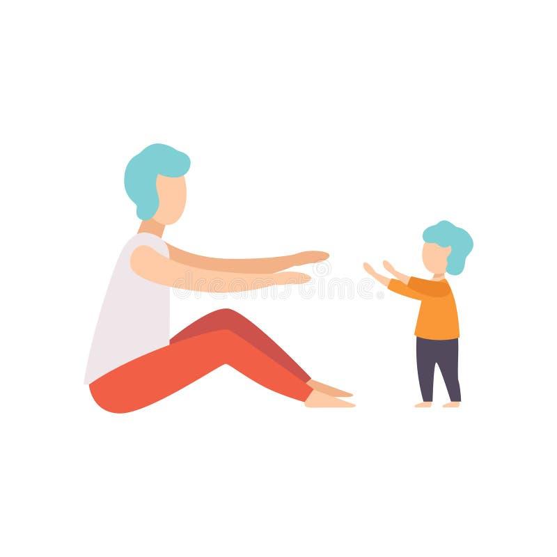 Μικρό παιδί μωρών που λαμβάνει τα πρώτα μέτρα στον πατέρα του, μπαμπάς που φροντίζει τη διανυσματική απεικόνιση παιδιών του σε έν διανυσματική απεικόνιση