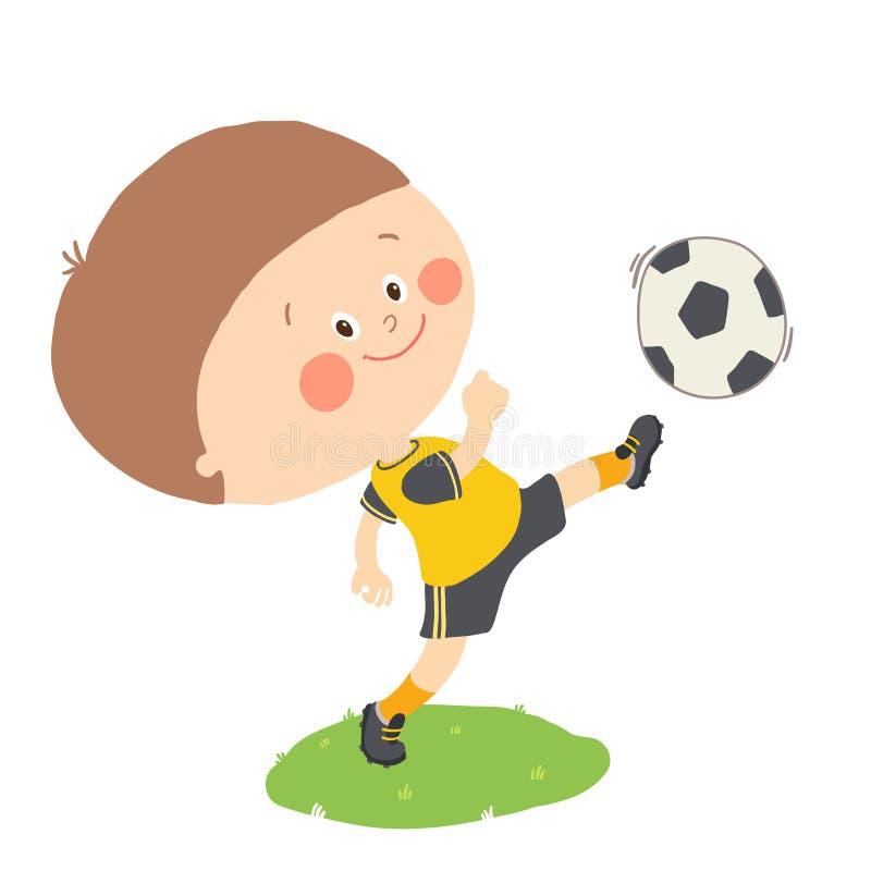 Μικρό παιδί που κλωτσά μια σφαίρα ποδοσφαίρου στον πράσινο τομέα που απομονώνεται Διανυσματική συρμένη χέρι απεικόνιση κινούμενων ελεύθερη απεικόνιση δικαιώματος