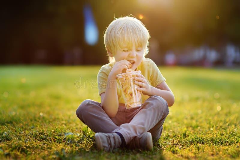 Μικρό παιδί που τρώει τα τσιπ καρότων κατά τη διάρκεια του περπατήματος στο πάρκο στοκ φωτογραφία με δικαίωμα ελεύθερης χρήσης