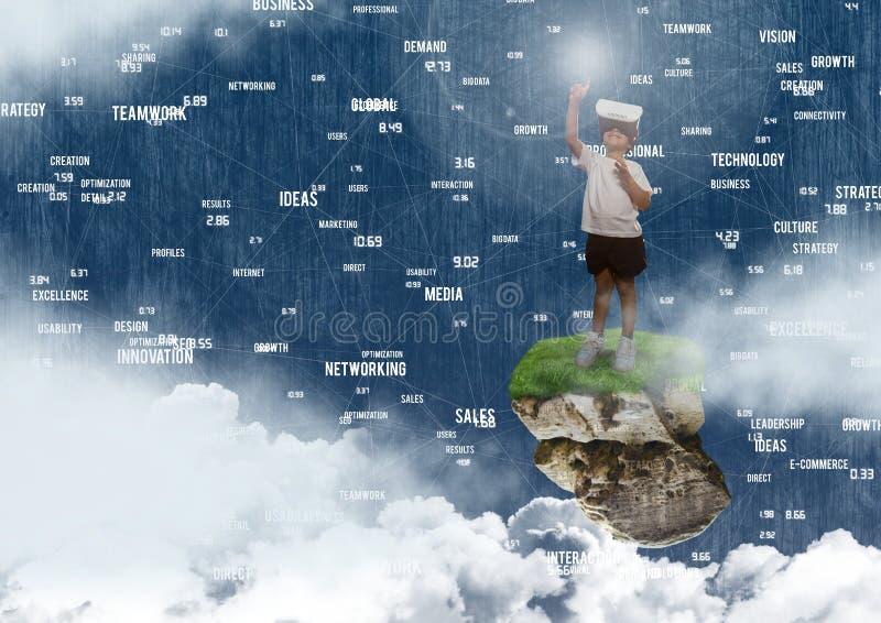 Μικρό παιδί που φορά την κάσκα εικονικής πραγματικότητας στην επιπλέουσα πλατφόρμα βράχου στον ουρανό με τους συνδετήρες ι λέξης διανυσματική απεικόνιση