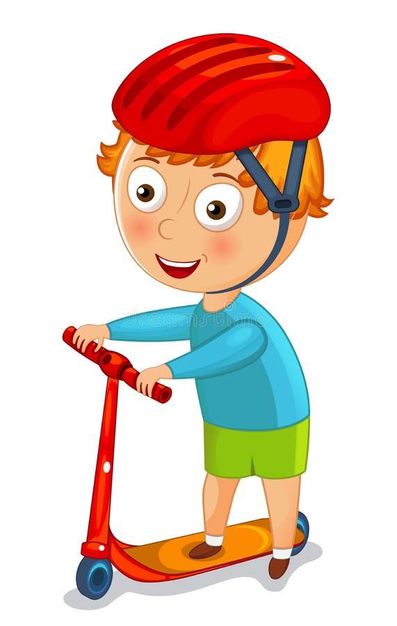 Μικρό παιδί σε ένα μηχανικό δίκυκλο σε ένα διάνυσμα κρανών διανυσματική απεικόνιση