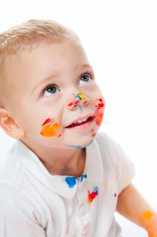 Μικρό παιδί στο χρώμα Στοκ Φωτογραφία