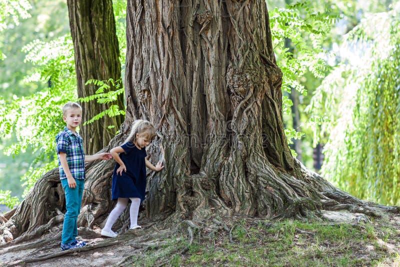 Μικρό παιδί και αδελφός και αδελφή κοριτσιών που στέκονται εκτός από ένα μεγάλο stu στοκ εικόνα με δικαίωμα ελεύθερης χρήσης