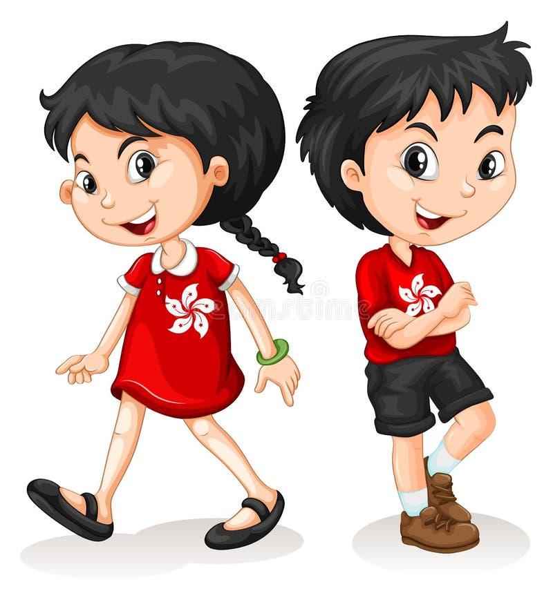 Μικρό παιδί και κορίτσι από το Χονγκ Κονγκ διανυσματική απεικόνιση