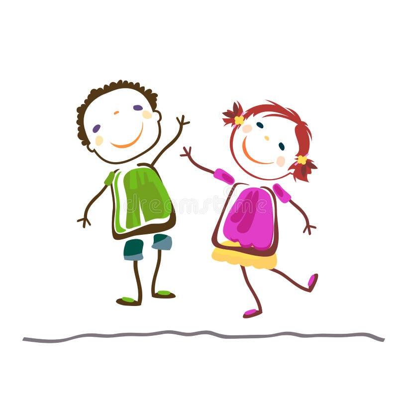 Μικρό παιδί και κορίτσι διανυσματική απεικόνιση