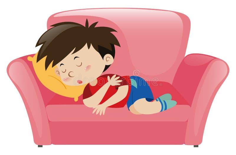 Μικρό παιδί κοιμισμένο στο ρόδινο καναπέ διανυσματική απεικόνιση