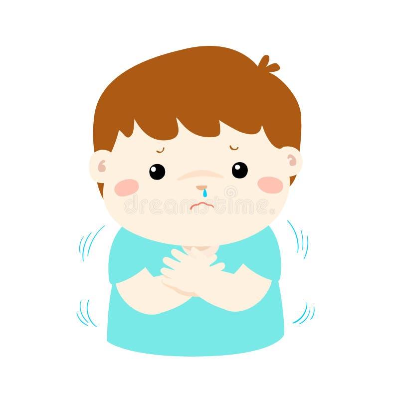 Μικρό παιδί με κρύο να τρέμει διανυσματική απεικόνιση