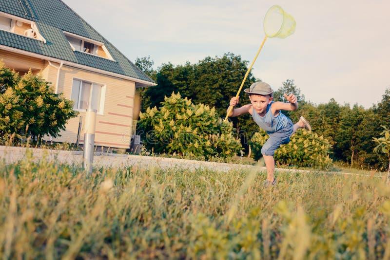 Μικρό παιδί που έχει τη διασκέδαση που πιάνει τα έντομα στοκ φωτογραφία με δικαίωμα ελεύθερης χρήσης