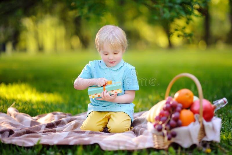 Μικρό παιδί που ανοίγει το ωραία τυλιγμένο δώρο κατά τη διάρκεια του πικ-νίκ στο ηλιόλουστο πάρκο στοκ φωτογραφία με δικαίωμα ελεύθερης χρήσης