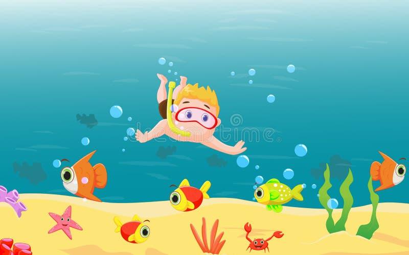Μικρό παιδί που βουτά στη θάλασσα διανυσματική απεικόνιση