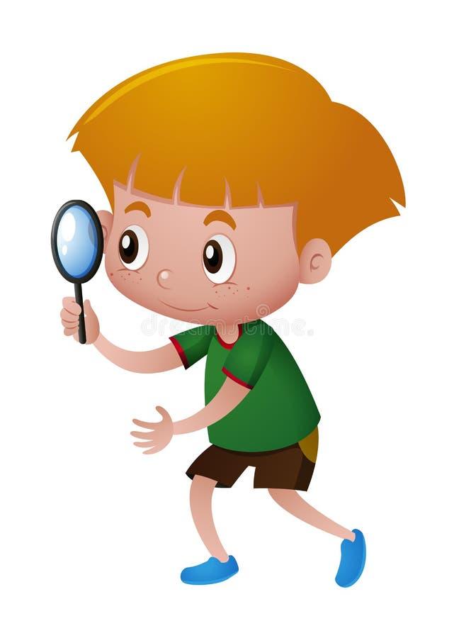 Μικρό παιδί που κοιτάζει μέσω της ενίσχυσης - γυαλί διανυσματική απεικόνιση