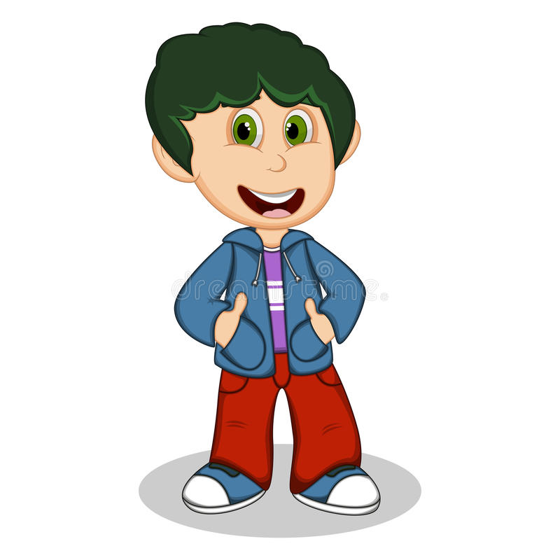 Μικρό παιδί που φορά μια μπλε ζακέτα και κόκκινα κινούμενα σχέδια ύφους παντελονιού απεικόνιση αποθεμάτων