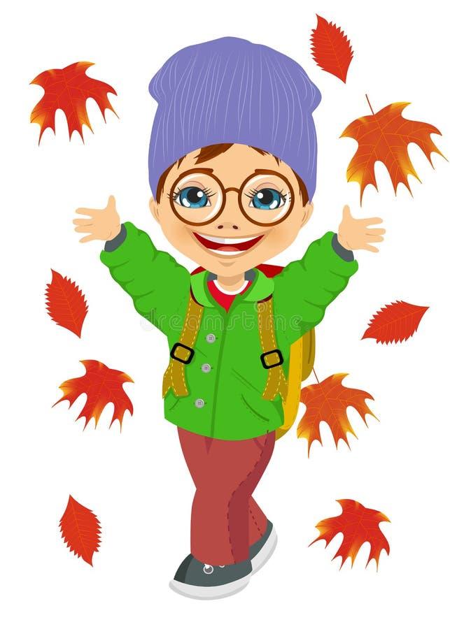 Μικρό παιδί που φορά το πλεκτό παιχνίδι καπέλων με τα φύλλα φθινοπώρου διανυσματική απεικόνιση