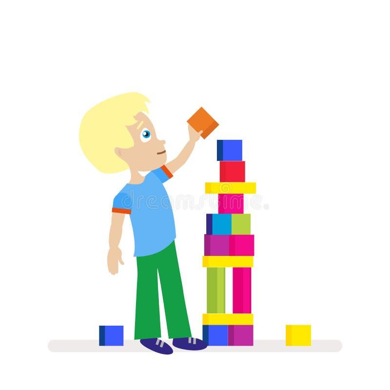 Μικρό παιδί που χτίζει έναν μεγάλο πύργο των ζωηρόχρωμων κύβων Παιδικά παιχνίδια Νέος οικοδόμος Χαρακτήρας που απομονώνεται επίπε διανυσματική απεικόνιση