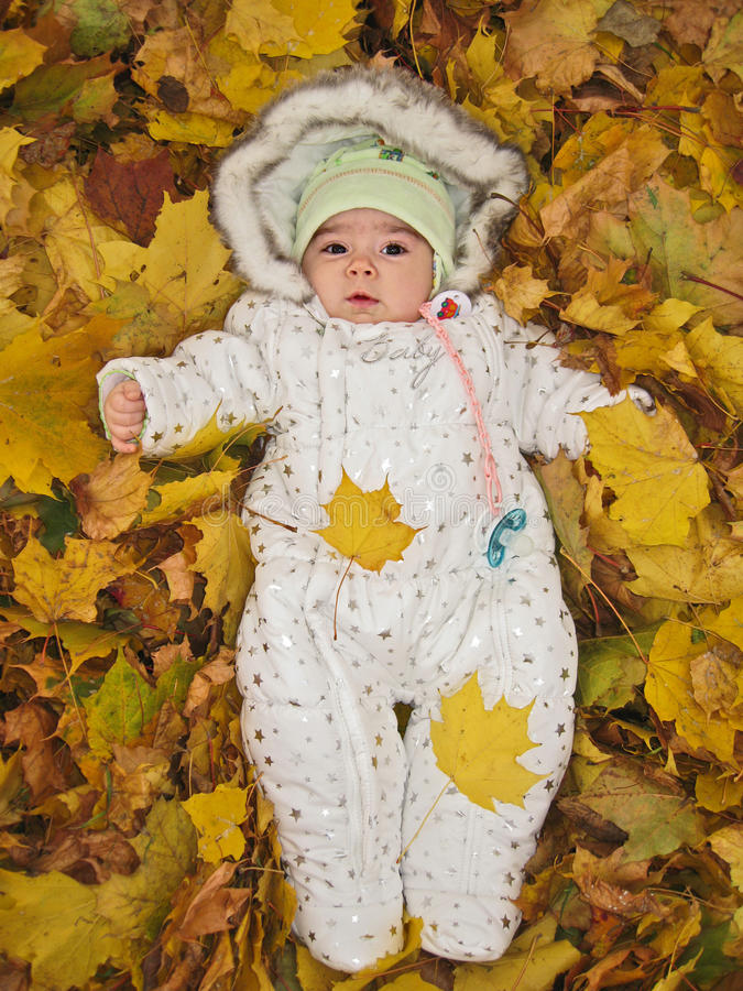 Μικρό παιδί στα κίτρινα φύλλα φθινοπώρου στοκ εικόνες
