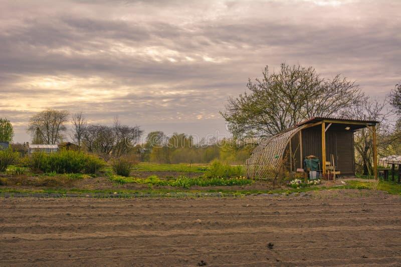 Μικρό σπίτι κήπων σε έναν κήπο με furrow τις σειρές την άνοιξη γυμνός στοκ εικόνες