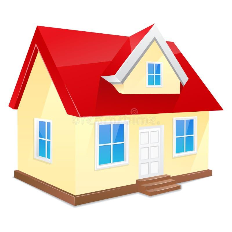 Μικρό σπίτι με την κόκκινη στέγη. Απομονωμένος σε ένα λευκό ελεύθερη απεικόνιση δικαιώματος