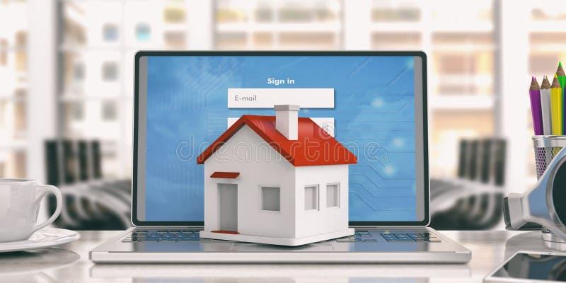 Μικρό σπίτι σε ένα lap-top τρισδιάστατη απεικόνιση διανυσματική απεικόνιση