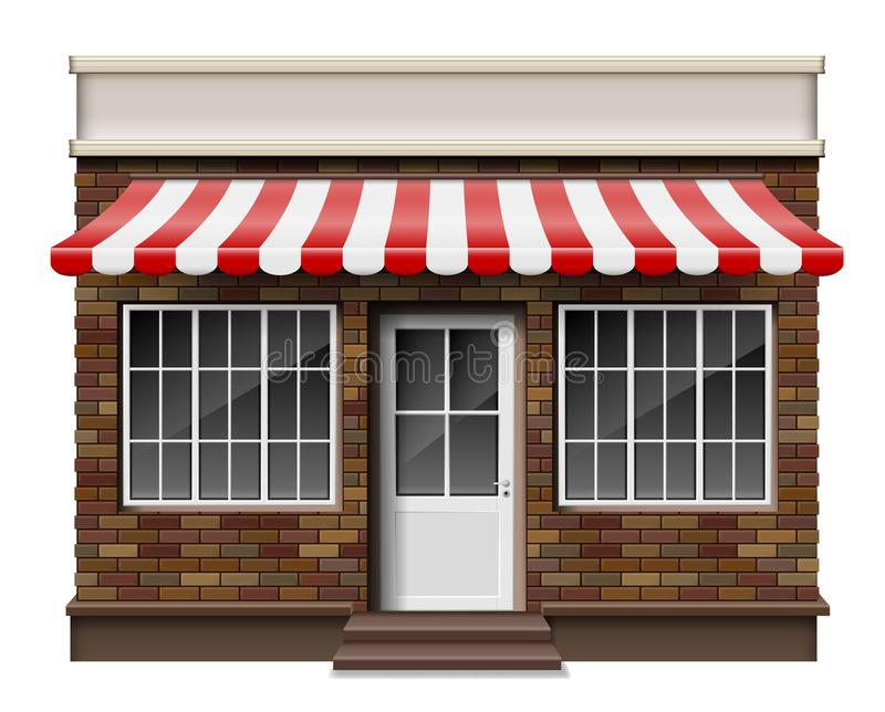 Μικρό τρισδιάστατο κατάστημα τούβλου ή μπροστινή πρόσοψη μπουτίκ Εξωτερικό κατάστημα μπουτίκ με το παράθυρο Πρότυπο του ρεαλιστικ απεικόνιση αποθεμάτων