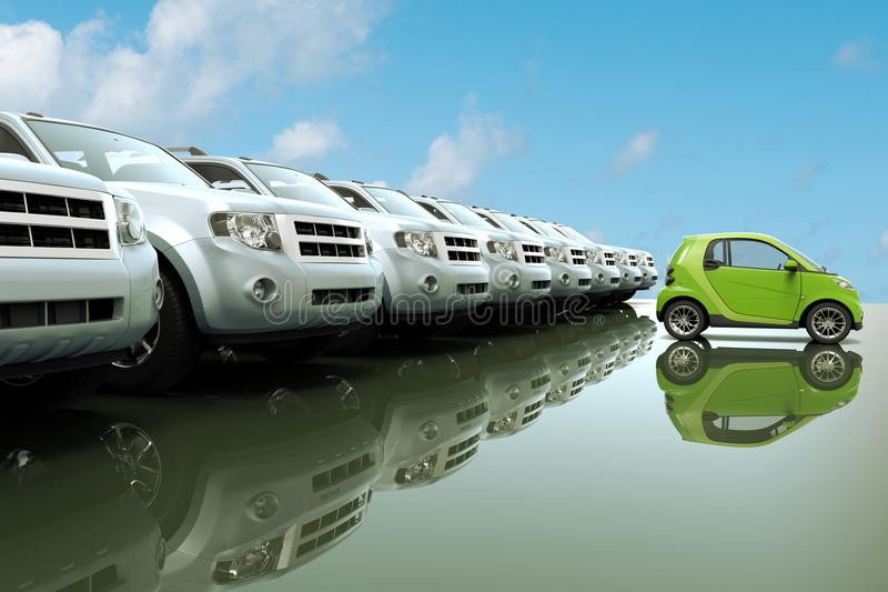 Μικρό, φιλικό αυτοκίνητο eco μπροστά από μια σειρά των μεγάλων αυτοκινήτων απεικόνιση αποθεμάτων