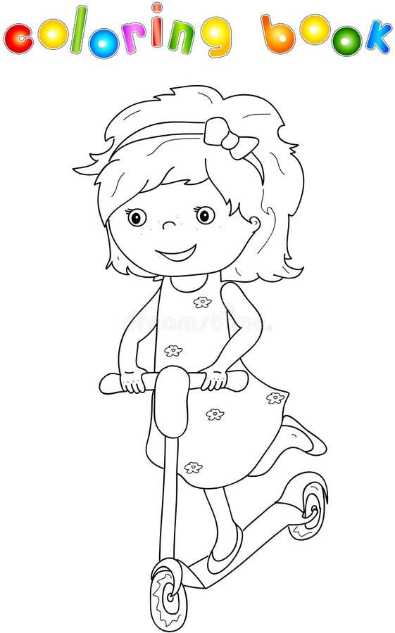 Μικρό χαριτωμένο κορίτσι που οδηγά ένα μηχανικό δίκυκλο ελεύθερη απεικόνιση δικαιώματος