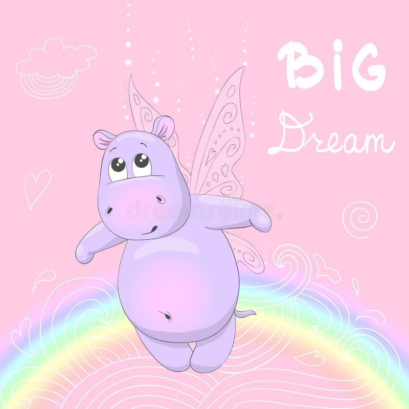 Μικρό, χαριτωμένο hippo με τα φτερά ελεύθερη απεικόνιση δικαιώματος