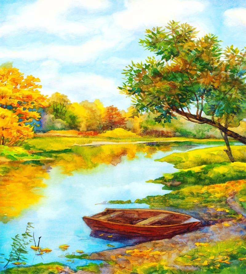μικρό watercolor πάρκων τοπίων γεφυρών φθινοπώρου Βάρκα πλησίον στον ποταμό ελεύθερη απεικόνιση δικαιώματος