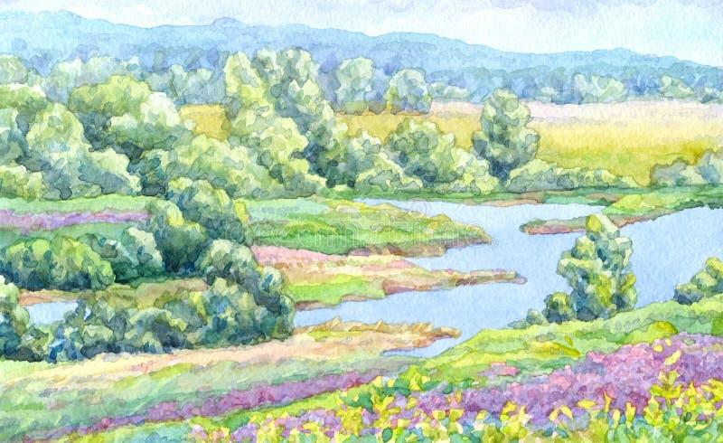 μικρό watercolor πάρκων τοπίων γεφυρών φθινοπώρου Θερινός ποταμός στα λιβάδια της κοιλάδας ελεύθερη απεικόνιση δικαιώματος