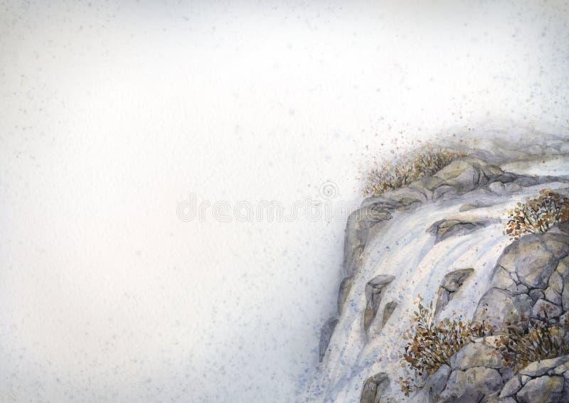 μικρό watercolor πάρκων τοπίων γεφυρών φθινοπώρου Καταρράκτης βουνών διανυσματική απεικόνιση