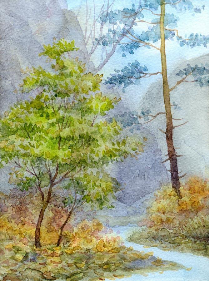 μικρό watercolor πάρκων τοπίων γεφυρών φθινοπώρου Ρυάκι βουνών στο δάσος φθινοπώρου στοκ εικόνα