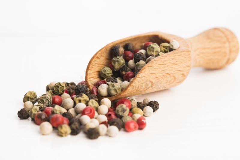 Μικτά πράσινα, κόκκινα, άσπρα και μαύρα peppercorns στοκ φωτογραφία με δικαίωμα ελεύθερης χρήσης