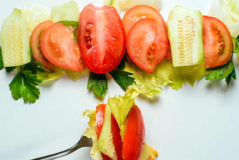 Μικτή σαλάτα στο δίκρανο στοκ εικόνες με δικαίωμα ελεύθερης χρήσης