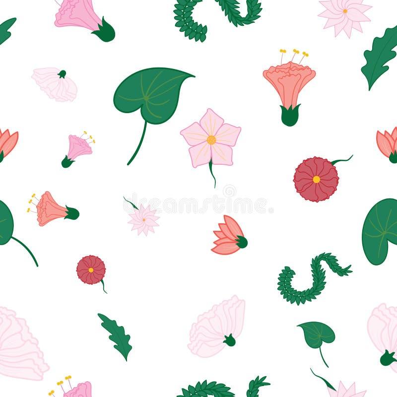 Μικτό άνευ ραφής σχέδιο λουλουδιών και φύλλων διανυσματική απεικόνιση