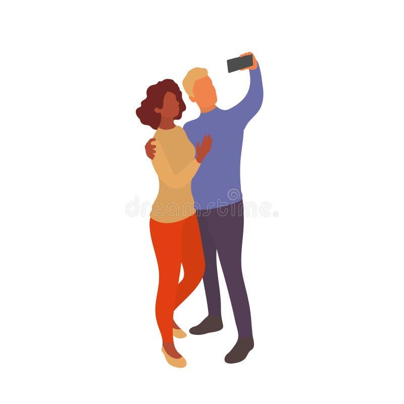 Μικτό ζεύγος που παίρνει selfie μαζί με το smartphone απεικόνιση αποθεμάτων