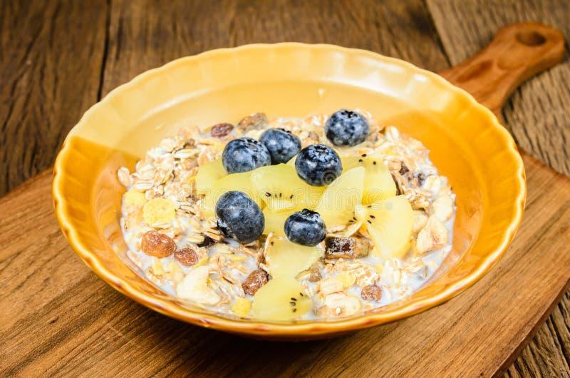 μικτό muesli σιτάρι δημητριακών με το βακκίνιο και το ακτινίδιο στοκ φωτογραφία
