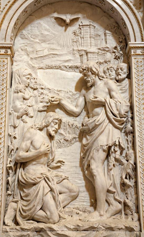 Μιλάνο - βάπτισμα Χριστού - ανάγλυφο στοκ φωτογραφία με δικαίωμα ελεύθερης χρήσης