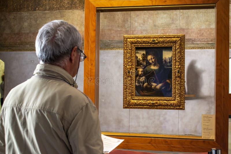 Μιλάνο, Ιταλία, Ευρώπη, μουσείο της αρχαίας τέχνης, Sforza Castle, Madonna και παιδί, Francesco Galli, Napoletano, Leonardo Da Vi στοκ εικόνα με δικαίωμα ελεύθερης χρήσης