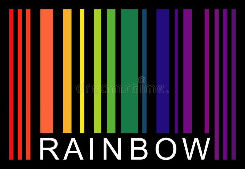 Μιμηθείτε το λέξη-ουράνιο τόξο γραμμωτών κωδίκων που απομονώνεται στο Μαύρο απεικόνιση αποθεμάτων