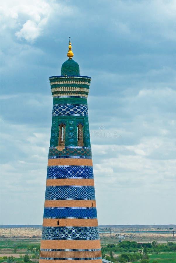 Μιναρές στην αρχαία πόλη Khiva, Ουζμπεκιστάν στοκ φωτογραφίες
