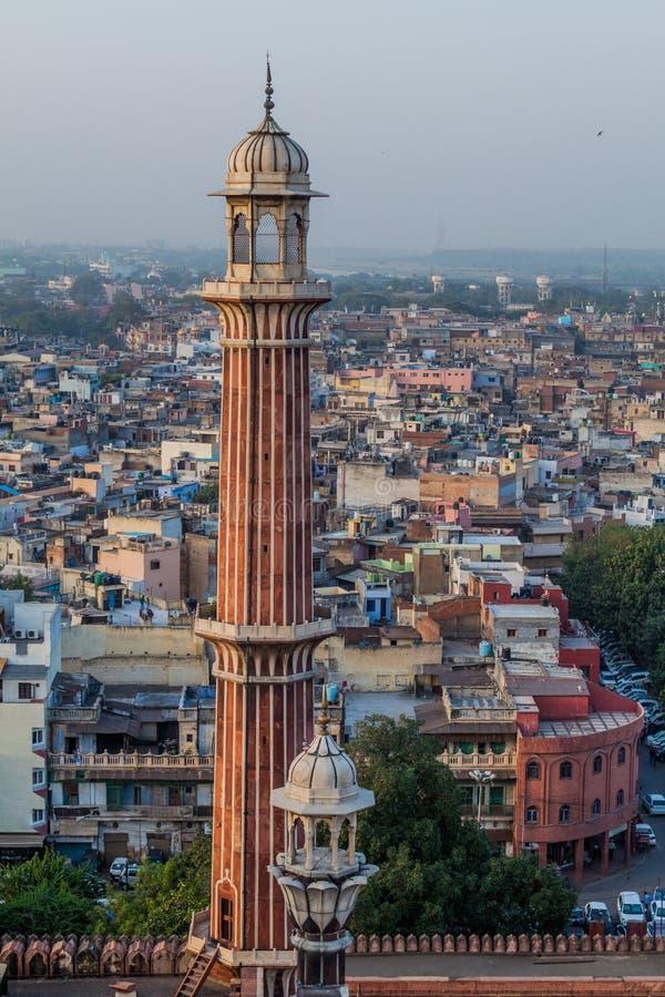 Μιναρές του μουσουλμανικού τεμένους Jama Masjid στο κέντρο του Δελχί, Indi στοκ εικόνες με δικαίωμα ελεύθερης χρήσης